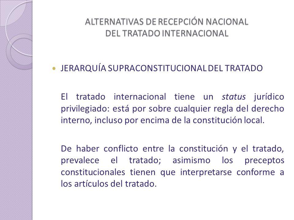 ALTERNATIVAS DE RECEPCIÓN NACIONAL DEL TRATADO INTERNACIONAL JERARQUÍA SUPRACONSTITUCIONAL DEL TRATADO El tratado internacional tiene un status jurídico privilegiado: está por sobre cualquier regla del derecho interno, incluso por encima de la constitución local.