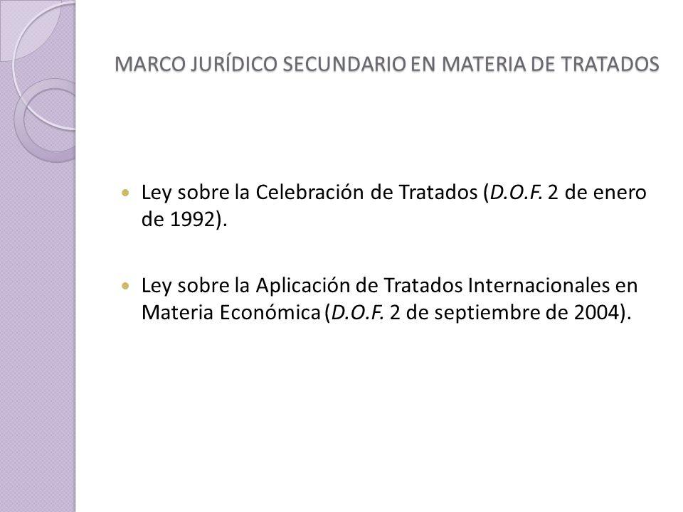 MARCO JURÍDICO SECUNDARIO EN MATERIA DE TRATADOS Ley sobre la Celebración de Tratados (D.O.F.