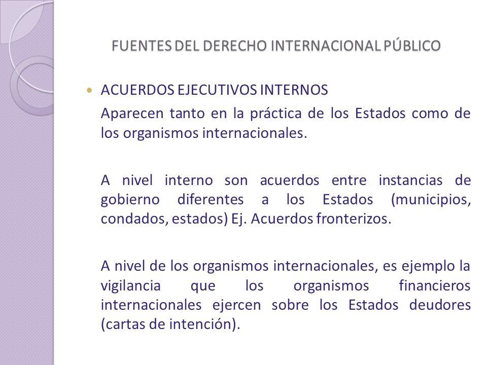FUENTES DEL DERECHO INTERNACIONAL PÚBLICO ACUERDOS EJECUTIVOS INTERNOS Aparecen tanto en la práctica de los Estados como de los organismos internacionales.