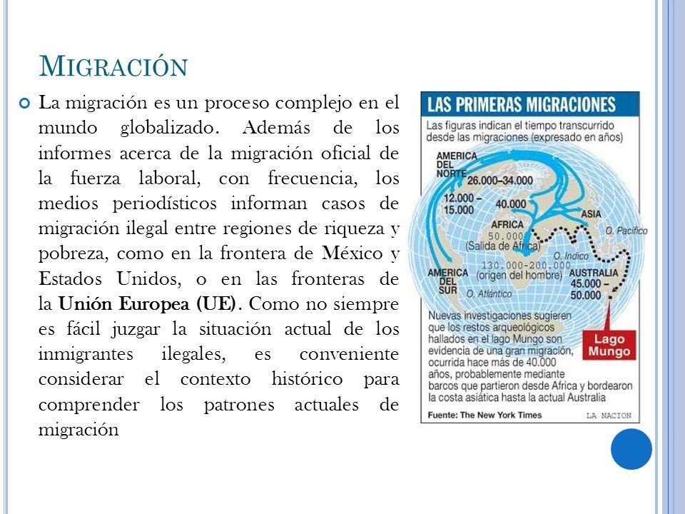 M IGRACIÓN La migración es un proceso complejo en el mundo globalizado. Además de los informes acerca de la migración oficial de la fuerza laboral, co