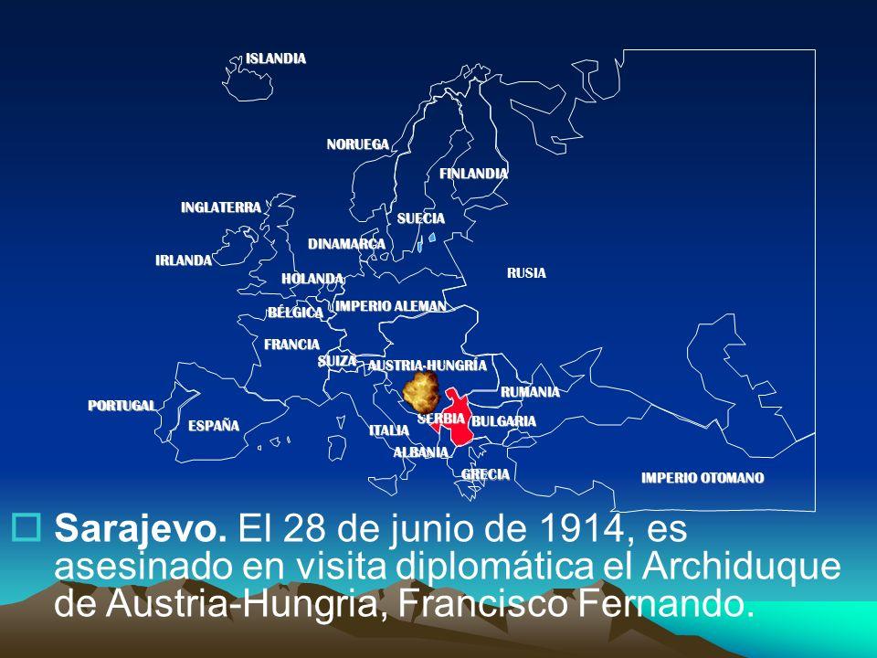 PORTUGAL IMPERIO ALEMAN AUSTRIA-HUNGRÍA RUSIA INGLATERRA FRANCIA ESPAÑA ITALIAISLANDIANORUEGA FINLANDIA DINAMARCA HOLANDA IRLANDA BÉLGICA ALBANIA SUIZA RUMANIA SERBIA GRECIA BULGARIA IMPERIO OTOMANO SUECIA Sarajevo.