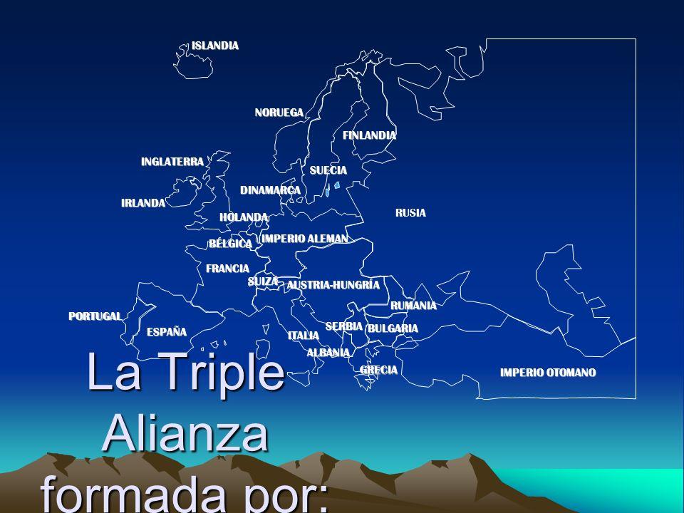 PORTUGAL IMPERIO ALEMAN AUSTRIA-HUNGRÍA RUSIA INGLATERRA FRANCIA ESPAÑA ITALIAISLANDIANORUEGA FINLANDIA DINAMARCA HOLANDA IRLANDA BÉLGICA ALBANIA SUIZA RUMANIA SERBIA GRECIA BULGARIA IMPERIO OTOMANO SUECIA La Triple Alianza formada por: