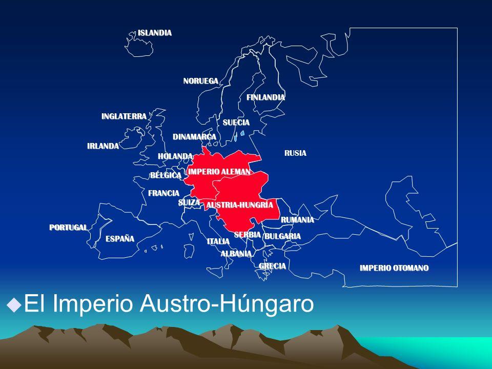 u El Imperio Austro-Húngaro PORTUGAL IMPERIO ALEMAN AUSTRIA-HUNGRÍA RUSIA INGLATERRA FRANCIA ESPAÑA ITALIAISLANDIANORUEGA FINLANDIA DINAMARCA HOLANDA IRLANDA BÉLGICA ALBANIA SUIZA RUMANIA SERBIA GRECIA BULGARIA IMPERIO OTOMANO SUECIA