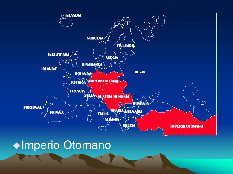 u Imperio Otomano PORTUGAL IMPERIO ALEMAN AUSTRIA-HUNGRÍA RUSIA INGLATERRA FRANCIA ESPAÑA ITALIAISLANDIANORUEGA FINLANDIA DINAMARCA HOLANDA IRLANDA BÉLGICA ALBANIA SUIZA RUMANIA SERBIA GRECIA BULGARIA IMPERIO OTOMANO SUECIA