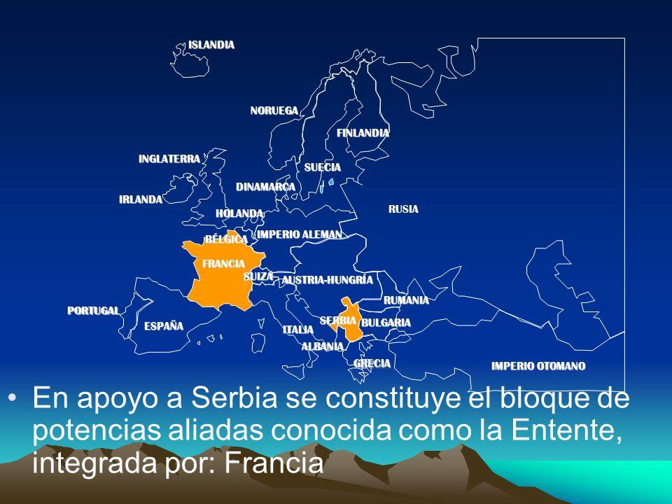 PORTUGAL IMPERIO ALEMAN AUSTRIA-HUNGRÍA RUSIA INGLATERRA FRANCIA ESPAÑA ITALIAISLANDIANORUEGA FINLANDIA DINAMARCA HOLANDA IRLANDA BÉLGICA ALBANIA SUIZA RUMANIA SERBIA GRECIA BULGARIA IMPERIO OTOMANO SUECIA En apoyo a Serbia se constituye el bloque de potencias aliadas conocida como la Entente, integrada por: Francia