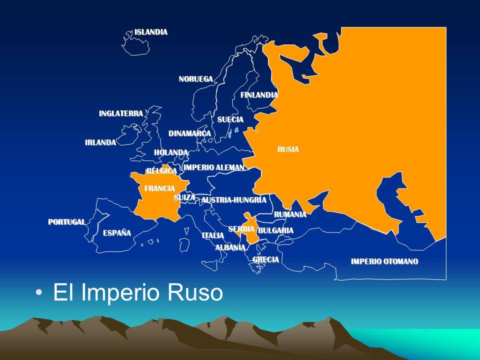 PORTUGAL IMPERIO ALEMAN AUSTRIA-HUNGRÍA RUSIA INGLATERRA FRANCIA ESPAÑA ITALIAISLANDIANORUEGA FINLANDIA DINAMARCA HOLANDA IRLANDA BÉLGICA ALBANIA SUIZA RUMANIA SERBIA GRECIA BULGARIA IMPERIO OTOMANO SUECIA El Imperio Ruso
