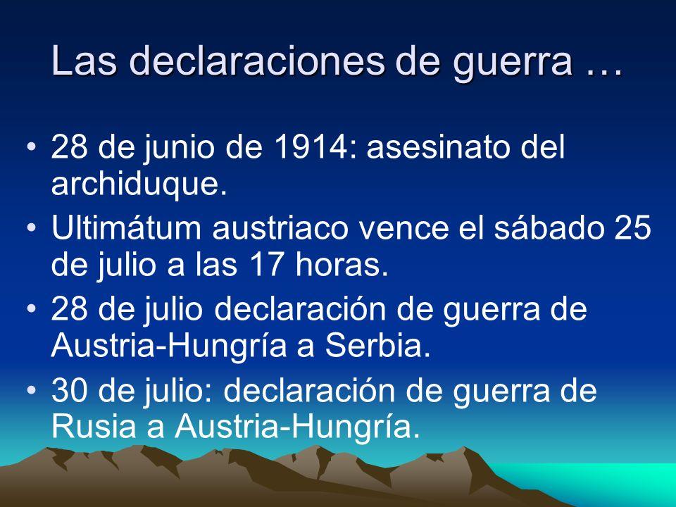 Las declaraciones de guerra … 28 de junio de 1914: asesinato del archiduque.