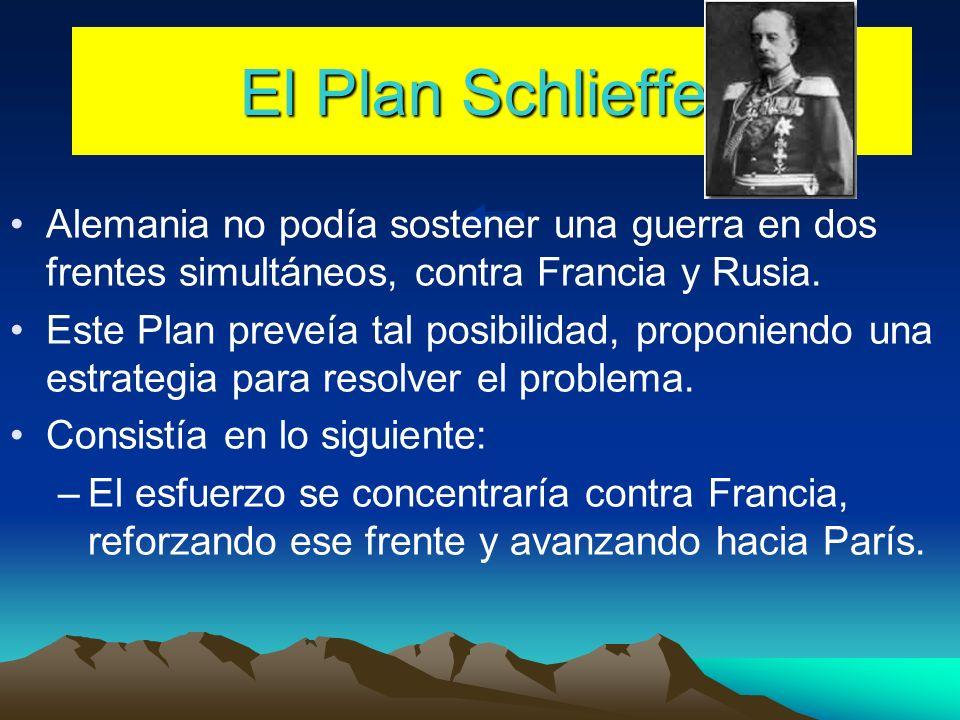 El Plan Schlieffen Alemania no podía sostener una guerra en dos frentes simultáneos, contra Francia y Rusia.