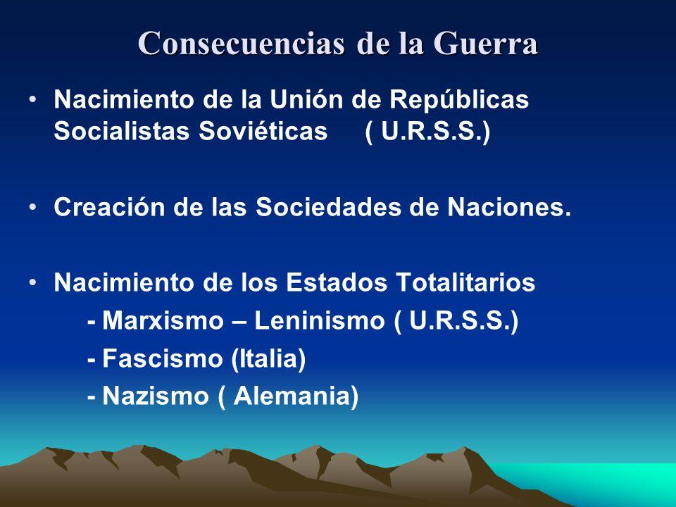Consecuencias de la Guerra Nacimiento de la Unión de Repúblicas Socialistas Soviéticas ( U.R.S.S.) Creación de las Sociedades de Naciones.