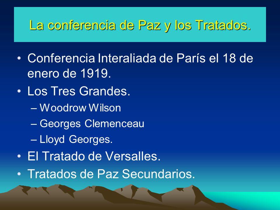 La conferencia de Paz y los Tratados.Conferencia Interaliada de París el 18 de enero de 1919.