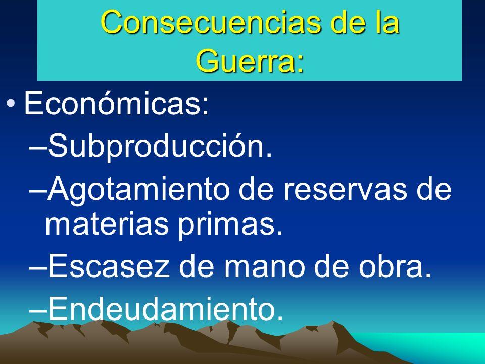 Consecuencias de la Guerra: Económicas: –Subproducción.