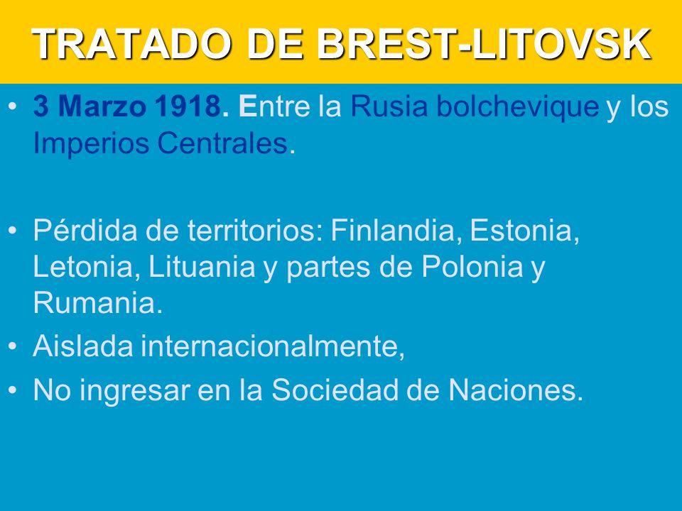 TRATADO DE BREST-LITOVSK 3 Marzo 1918.Entre la Rusia bolchevique y los Imperios Centrales.