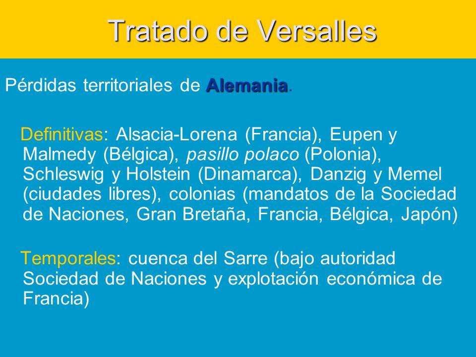 Tratado de Versalles Tratado de Versalles Alemania Pérdidas territoriales de Alemania.