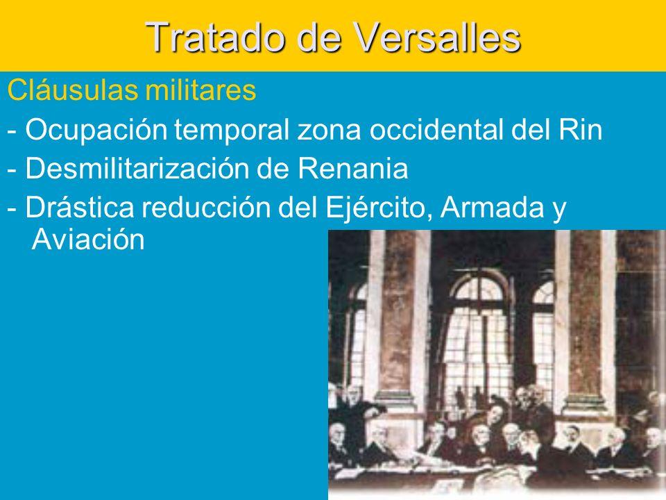 Tratado de Versalles Cláusulas militares - Ocupación temporal zona occidental del Rin - Desmilitarización de Renania - Drástica reducción del Ejército, Armada y Aviación
