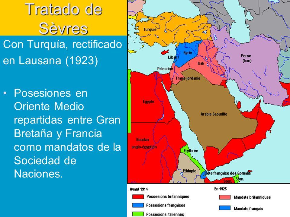 Tratado de Sèvres Con Turquía, rectificado en Lausana (1923) Posesiones en Oriente Medio repartidas entre Gran Bretaña y Francia como mandatos de la Sociedad de Naciones.