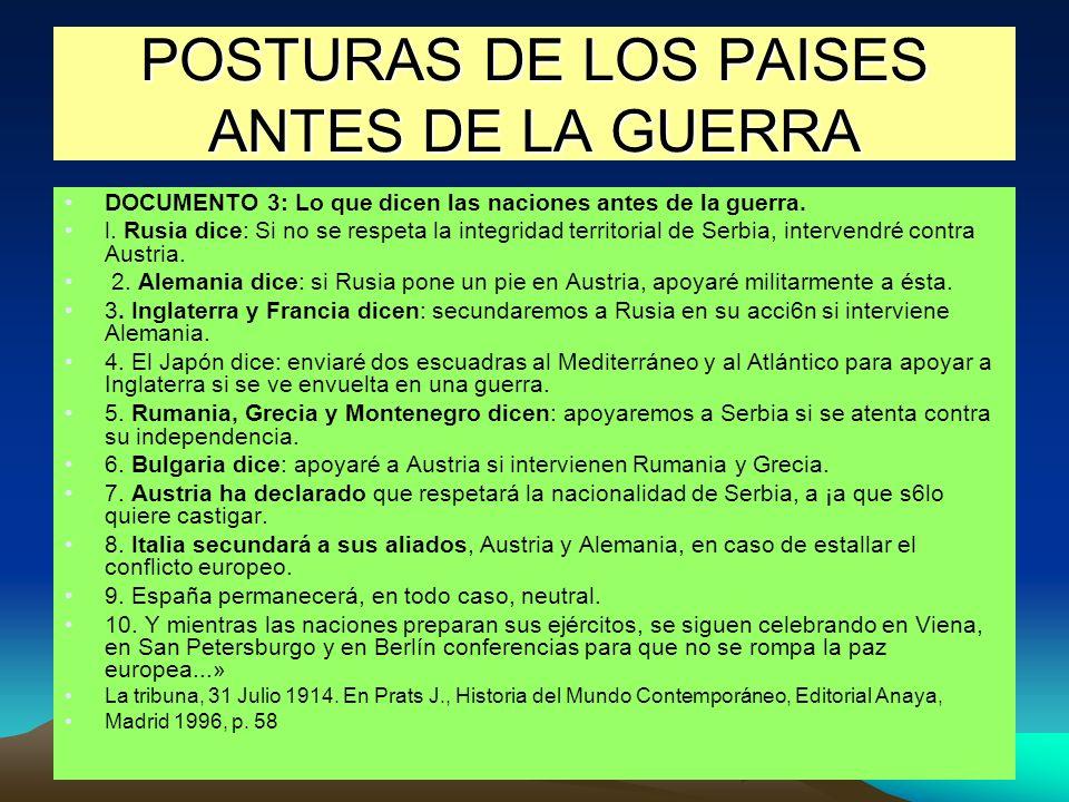 POSTURAS DE LOS PAISES ANTES DE LA GUERRA DOCUMENTO 3: Lo que dicen las naciones antes de la guerra.