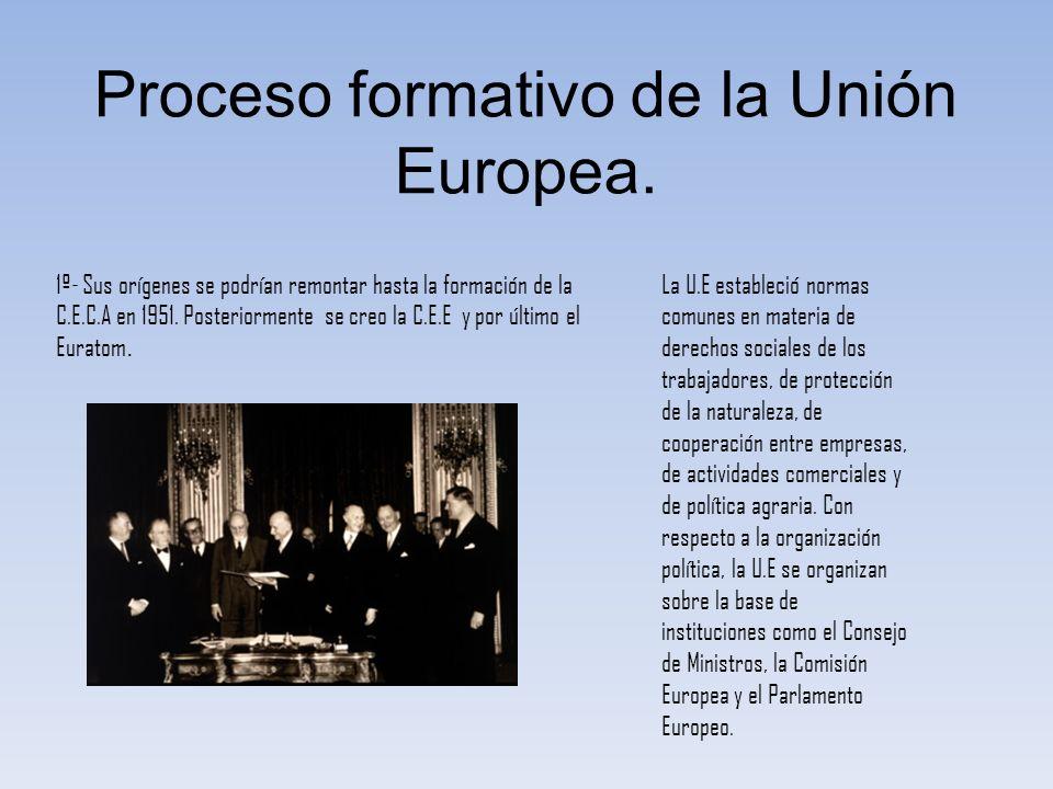 Proceso formativo de la Unión Europea. 1º- Sus orígenes se podrían remontar hasta la formación de la C.E.C.A en 1951. Posteriormente se creo la C.E.E