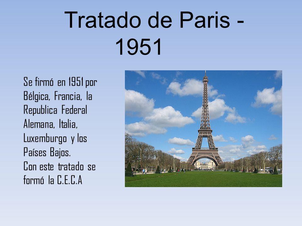 Tratado de Roma - 1957 Firmado en 1957, esta compuesto por dos sub-tratados y los dos fueron firmados por la Alemania Occidental, Bélgica, Francia, Italia, Luxemburgo y los Países Bajos.