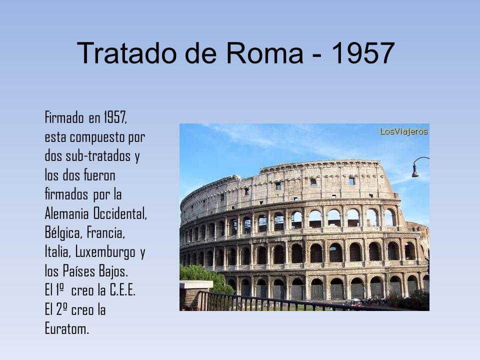 Tratado de Roma - 1957 Firmado en 1957, esta compuesto por dos sub-tratados y los dos fueron firmados por la Alemania Occidental, Bélgica, Francia, It