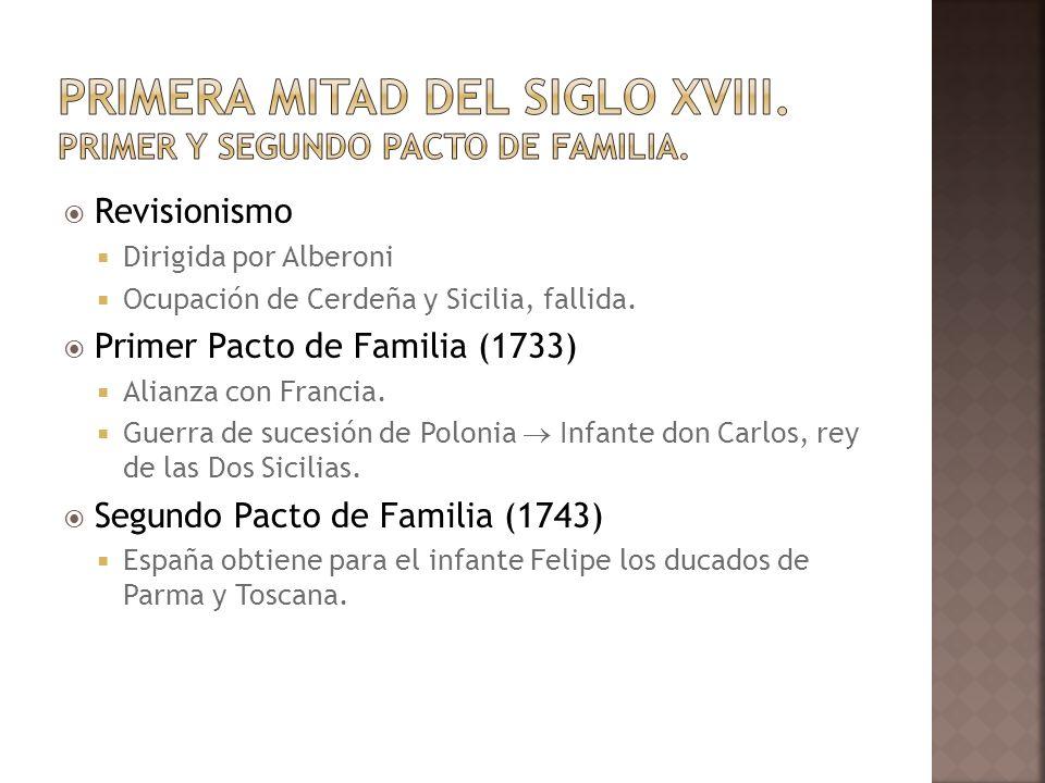 Revisionismo Dirigida por Alberoni Ocupación de Cerdeña y Sicilia, fallida. Primer Pacto de Familia (1733) Alianza con Francia. Guerra de sucesión de