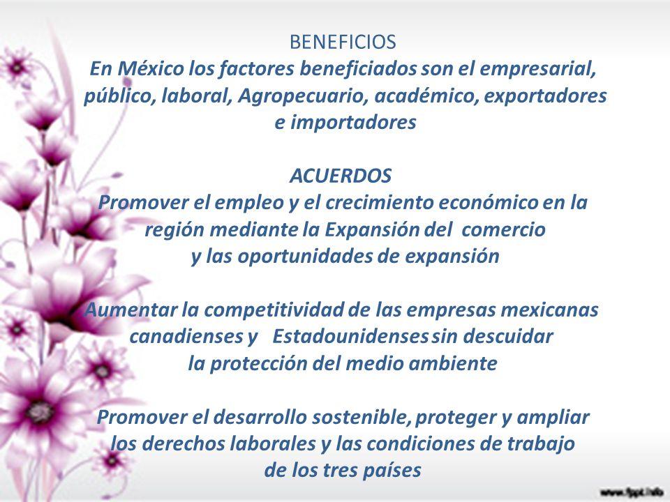 BENEFICIOS En México los factores beneficiados son el empresarial, público, laboral, Agropecuario, académico, exportadores e importadores ACUERDOS Pro