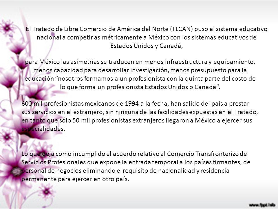 El Tratado de Libre Comercio de América del Norte (TLCAN) puso al sistema educativo nacional a competir asimétricamente a México con los sistemas educ