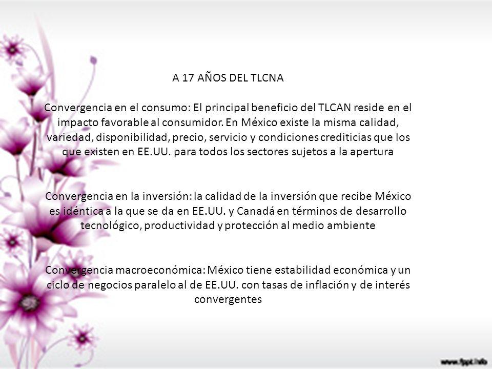 A 17 AÑOS DEL TLCNA Convergencia en el consumo: El principal beneficio del TLCAN reside en el impacto favorable al consumidor. En México existe la mis