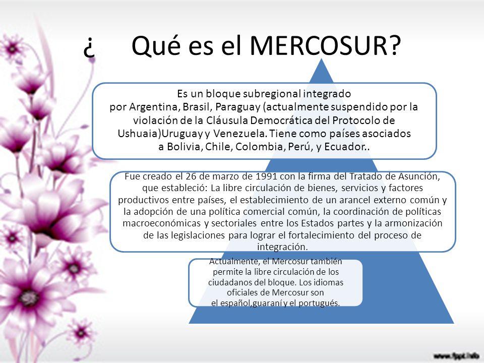 ¿Qué es el MERCOSUR? Es un bloque subregional integrado por Argentina, Brasil, Paraguay (actualmente suspendido por la violación de la Cláusula Democr