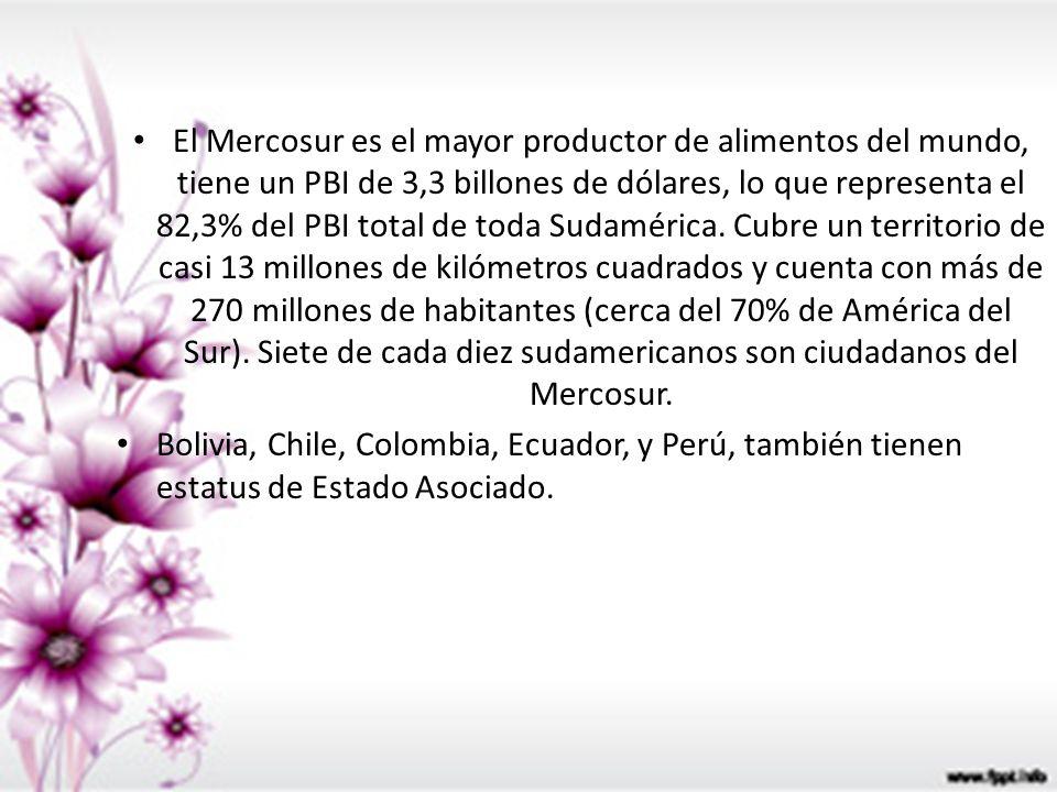 El Mercosur es el mayor productor de alimentos del mundo, tiene un PBI de 3,3 billones de dólares, lo que representa el 82,3% del PBI total de toda Su