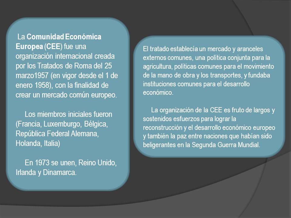 La Comunidad Económica Europea ( CEE ) fue una organización internacional creada por los Tratados de Roma del 25 marzo1957 (en vigor desde el 1 de ene