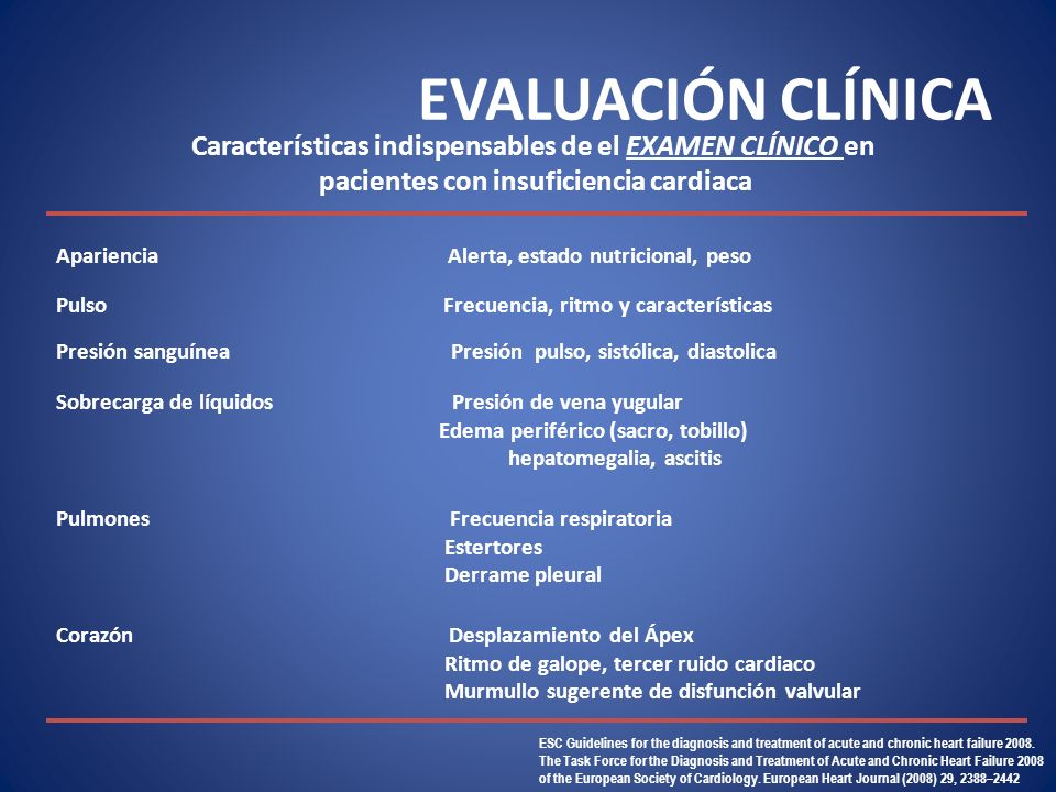 EVALUACIÓN CLÍNICA ESC Guidelines for the diagnosis and treatment of acute and chronic heart failure 2008. The Task Force for the Diagnosis and Treatm