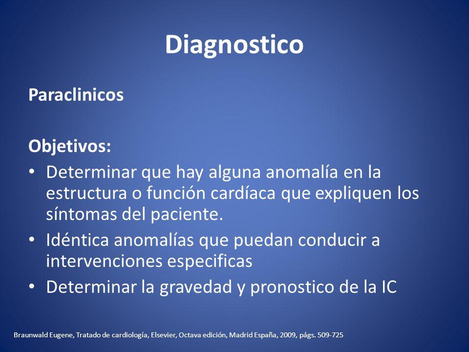 Diagnostico Paraclinicos Objetivos: Determinar que hay alguna anomalía en la estructura o función cardíaca que expliquen los síntomas del paciente. Id
