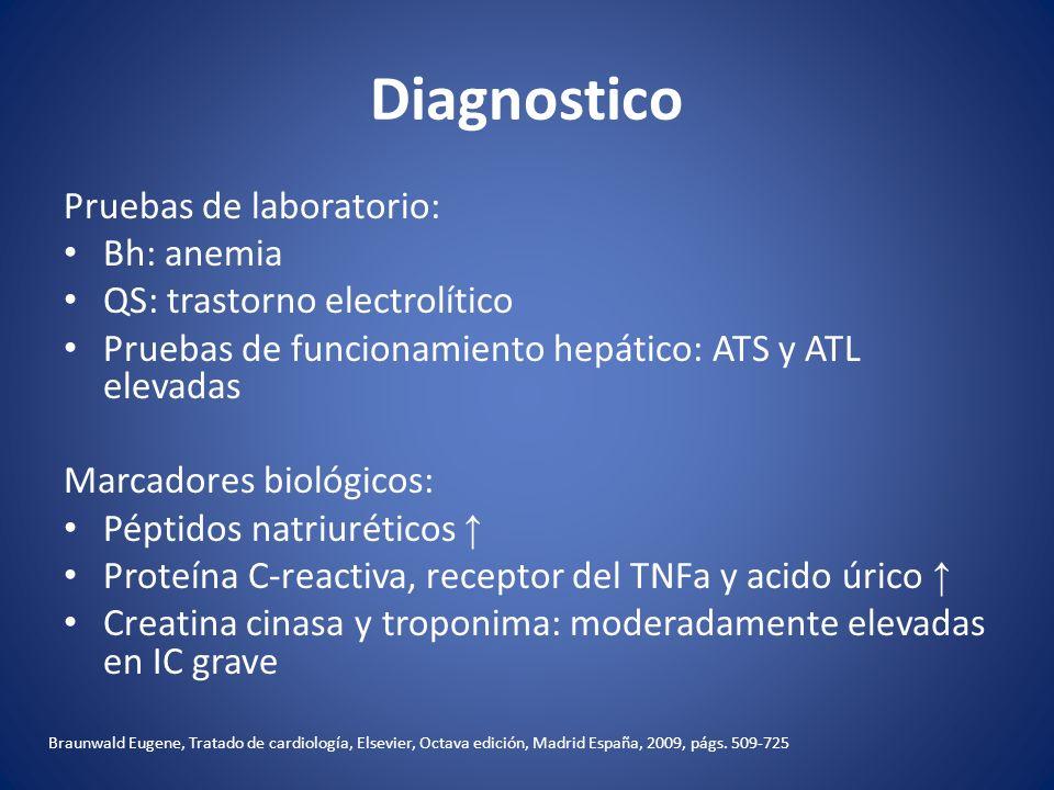 Diagnostico Pruebas de laboratorio: Bh: anemia QS: trastorno electrolítico Pruebas de funcionamiento hepático: ATS y ATL elevadas Marcadores biológico