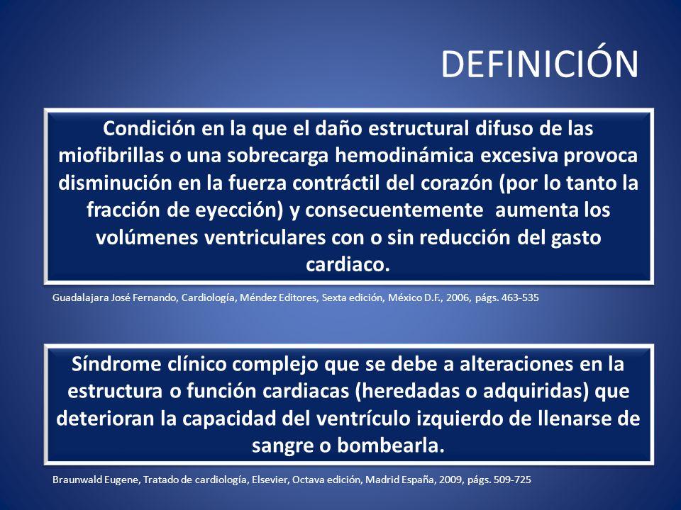 DEFINICIÓN Síndrome clínico complejo que se debe a alteraciones en la estructura o función cardiacas (heredadas o adquiridas) que deterioran la capaci