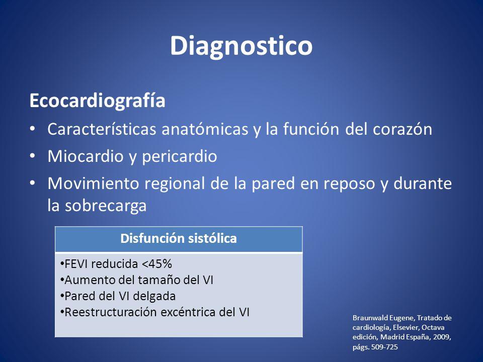 Diagnostico Ecocardiografía Características anatómicas y la función del corazón Miocardio y pericardio Movimiento regional de la pared en reposo y dur