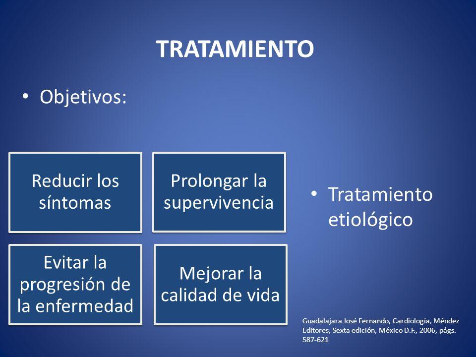 TRATAMIENTO Reducir los síntomas Prolongar la supervivencia Evitar la progresión de la enfermedad Mejorar la calidad de vida Tratamiento etiológico Ob