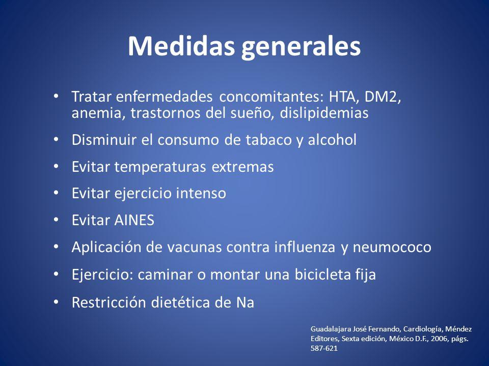 Medidas generales Tratar enfermedades concomitantes: HTA, DM2, anemia, trastornos del sueño, dislipidemias Disminuir el consumo de tabaco y alcohol Ev