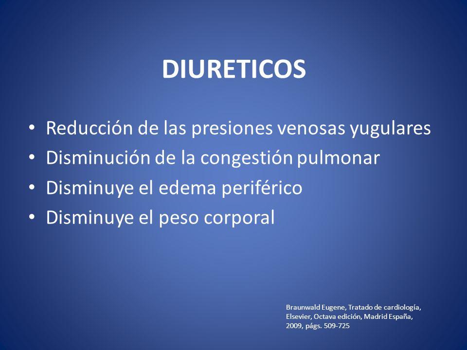 DIURETICOS Reducción de las presiones venosas yugulares Disminución de la congestión pulmonar Disminuye el edema periférico Disminuye el peso corporal