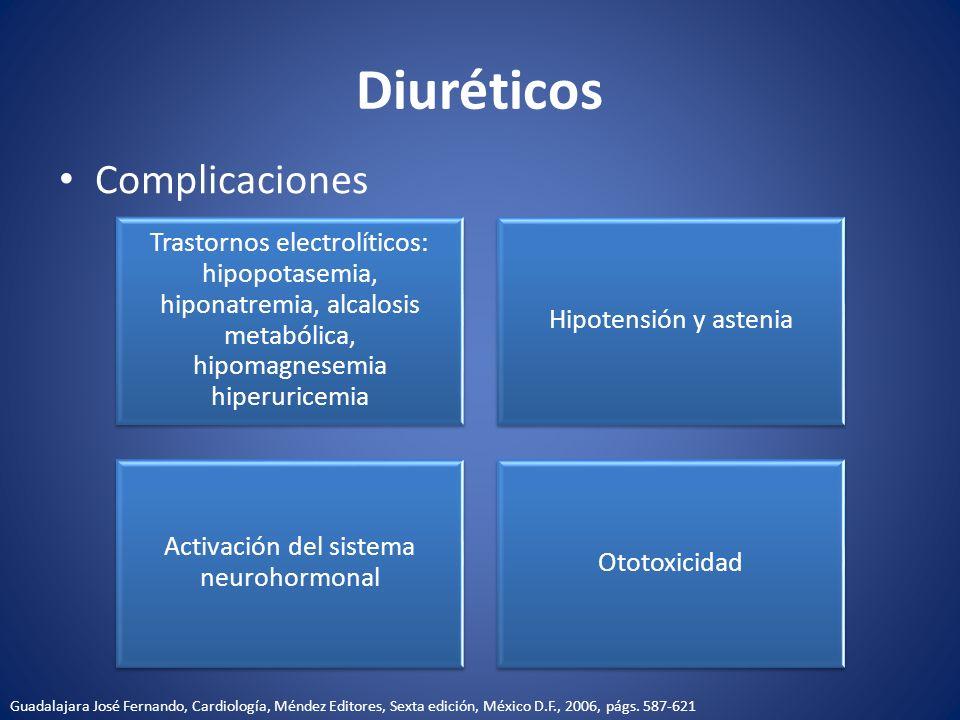Diuréticos Complicaciones Trastornos electrolíticos: hipopotasemia, hiponatremia, alcalosis metabólica, hipomagnesemia hiperuricemia Hipotensión y ast