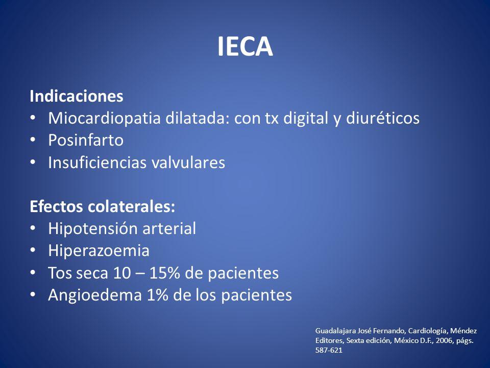 IECA Indicaciones Miocardiopatia dilatada: con tx digital y diuréticos Posinfarto Insuficiencias valvulares Efectos colaterales: Hipotensión arterial