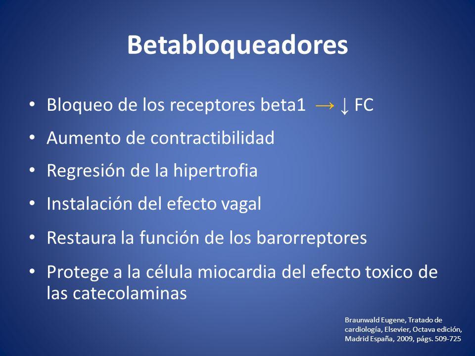 Betabloqueadores Bloqueo de los receptores beta1 FC Aumento de contractibilidad Regresión de la hipertrofia Instalación del efecto vagal Restaura la f