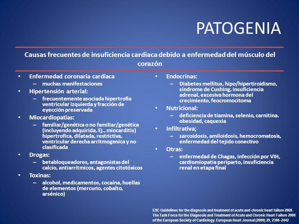 PATOGENIA Enfermedad coronaria cardiaca – muchas manifestaciones Hipertensión arterial: – frecuentemente asociada hipertrofia ventricular izquierda y