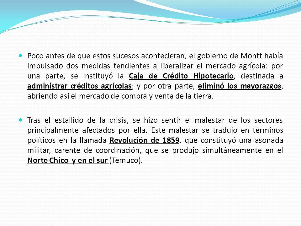 Poco antes de que estos sucesos acontecieran, el gobierno de Montt había impulsado dos medidas tendientes a liberalizar el mercado agrícola: por una p