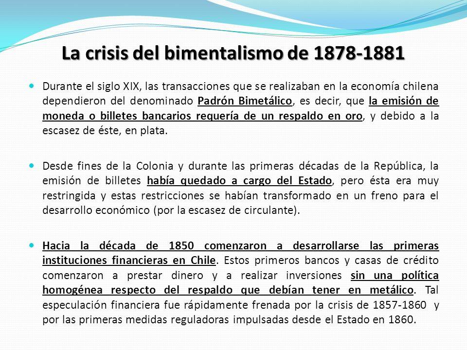 La crisis del bimentalismo de 1878-1881 Durante el siglo XIX, las transacciones que se realizaban en la economía chilena dependieron del denominado Pa