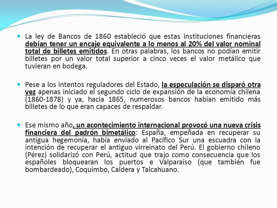 La ley de Bancos de 1860 estableció que estas instituciones financieras debían tener un encaje equivalente a lo menos al 20% del valor nominal total d