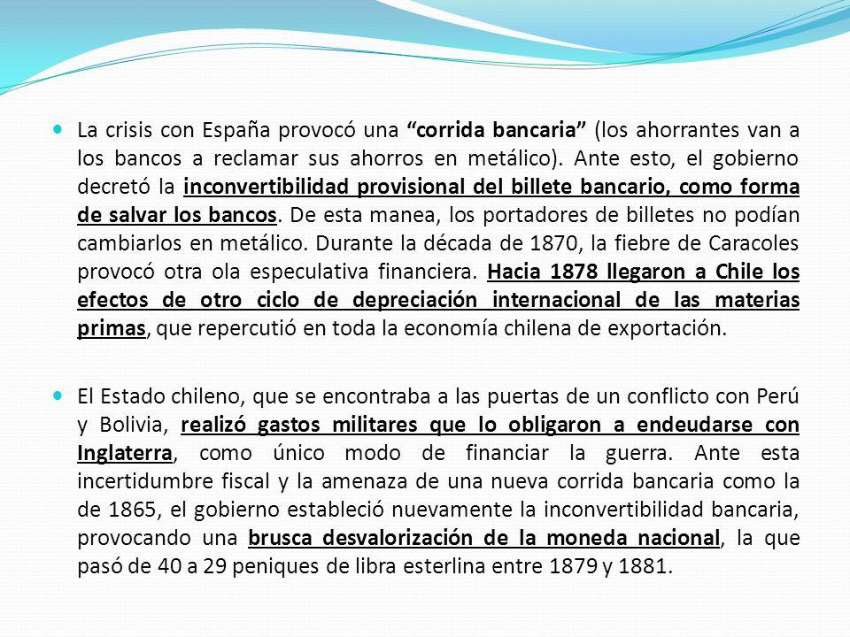 La crisis con España provocó una corrida bancaria (los ahorrantes van a los bancos a reclamar sus ahorros en metálico). Ante esto, el gobierno decretó