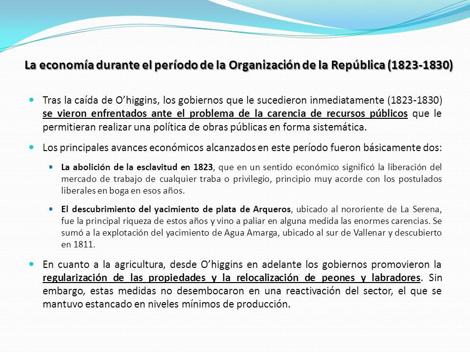 La economía durante el período de la Organización de la República (1823-1830) Tras la caída de Ohiggins, los gobiernos que le sucedieron inmediatament