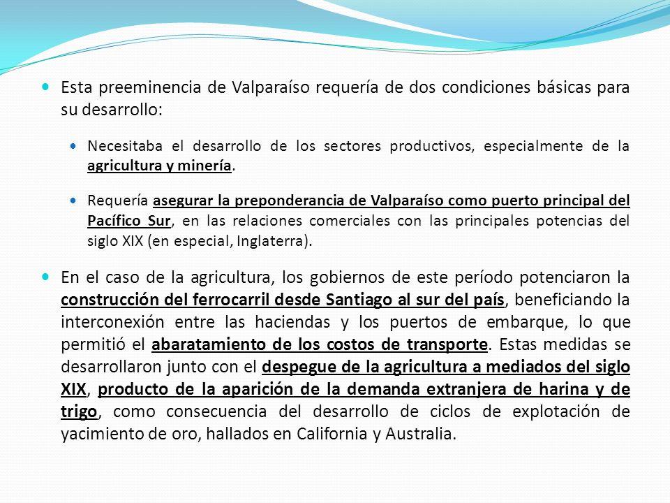 Esta preeminencia de Valparaíso requería de dos condiciones básicas para su desarrollo: Necesitaba el desarrollo de los sectores productivos, especial
