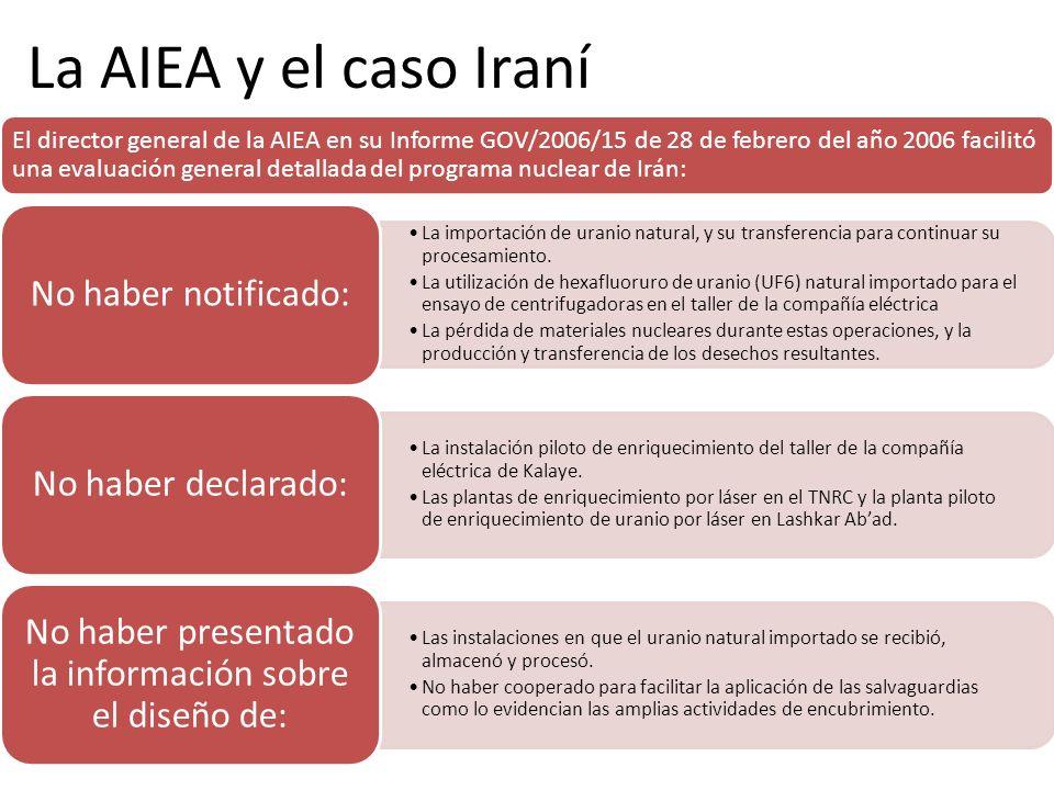 La AIEA y el caso Iraní El director general de la AIEA en su Informe GOV/2006/15 de 28 de febrero del año 2006 facilitó una evaluación general detalla