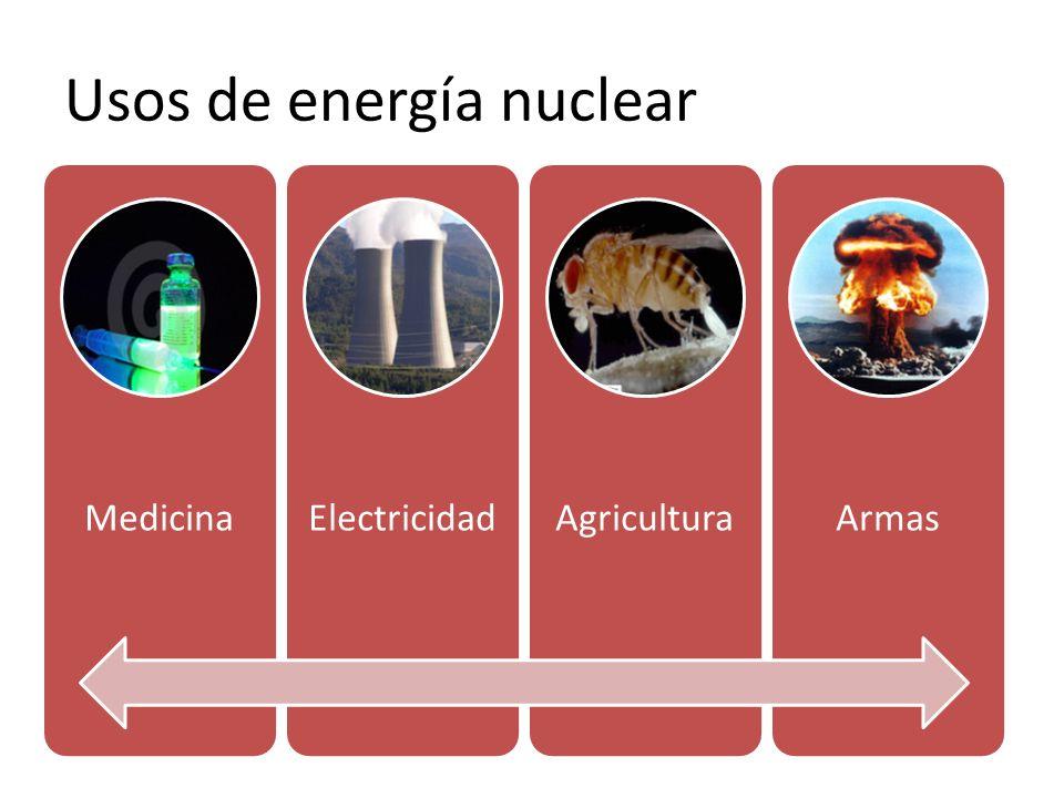 Usos de energía nuclear MedicinaElectricidadAgriculturaArmas
